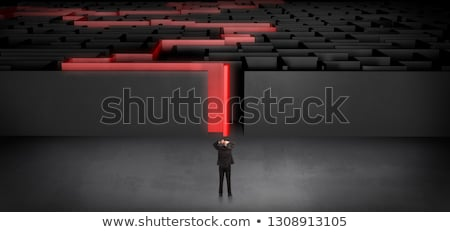 Businessman starting a stated dark labyrinth Stock photo © ra2studio