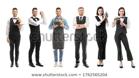 Stockfoto: Barman · portret · geïsoleerd · witte · jonge · alcohol