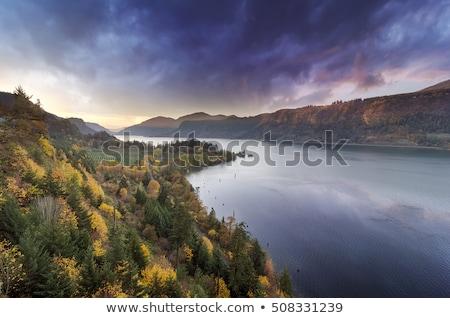 川 オレゴン州 日没 秋 家 ストックフォト © davidgn