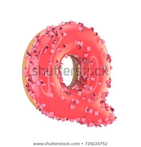 Red glossy font Letter Q 3D Stock photo © djmilic