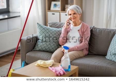 kobieta · mówić · telefonu · sofa · salon - zdjęcia stock © dolgachov
