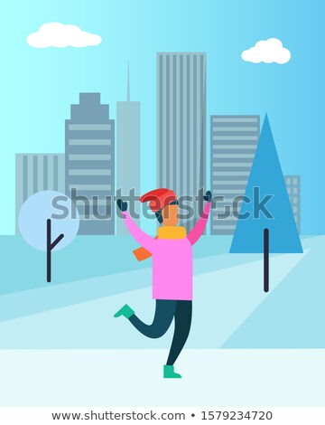 Man in Pink Sweater, Santa's Hat, in Warm Mittens Stock photo © robuart
