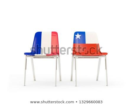 Iki sandalye bayraklar Fransa Şili yalıtılmış Stok fotoğraf © MikhailMishchenko