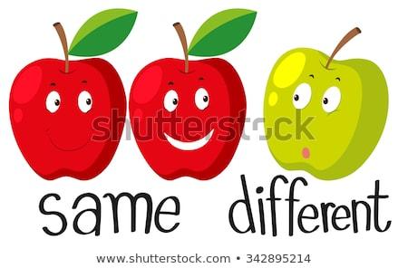 Groene appels verschillend emoties illustratie voedsel Stockfoto © colematt
