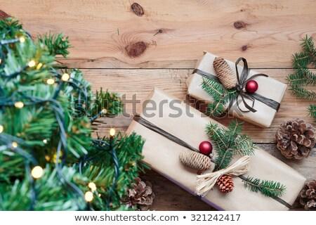 Noel hediyeler dekorasyon rustik ahşap Stok fotoğraf © andreasberheide