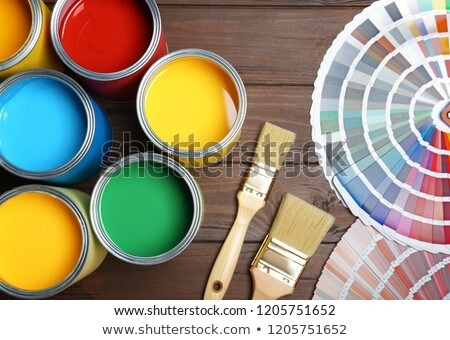 Tin cans with paint, brushes and bright palette of colors Stock photo © JanPietruszka