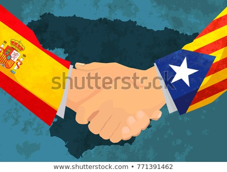 Catalonia and Spain handshake, concept illustration with map on background Stock photo © evgeny89