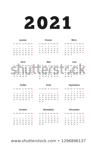 2021 year simple calendar on french language, A4 size vertical sheet on dark background Stock photo © evgeny89