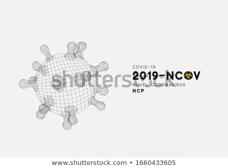 Covid-19. Novel Coronavirus Concept Design with Virus Cell and Biological Danger Symbol on Yellow Ba Stock photo © articular