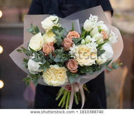 jolie · femme · coloré · bouquet · fleurs · joli - photo stock © photography33