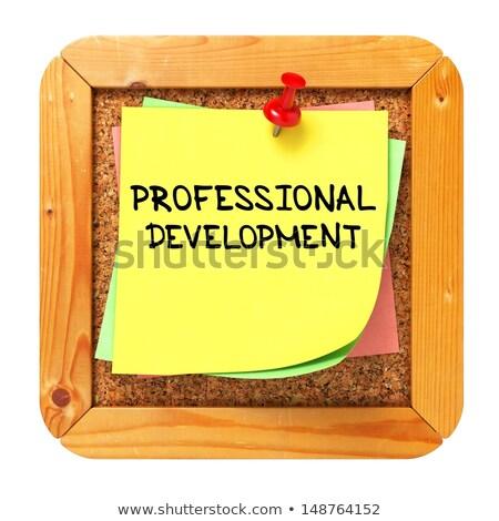 Profissional educação adesivo boletim amarelo cortiça Foto stock © tashatuvango