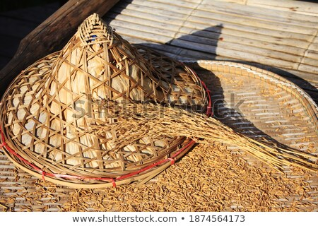 asian woven hat made from tropical leaves Stock photo © nalinratphi