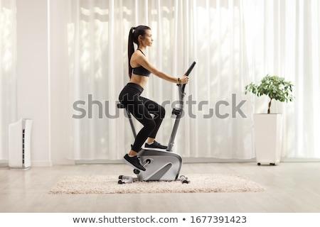 silhouet · mensen · fietsen · vrouwelijke · mannelijke · fietsen - stockfoto © tawng
