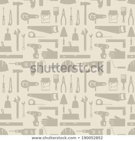 Helm tools bouw werk achtergrond oranje Stockfoto © Valeriy