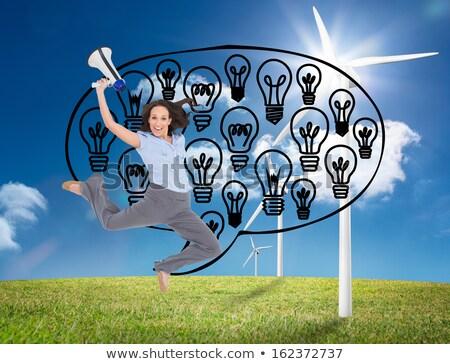 Stock fotó: üzletasszony · ugrik · villanykörték · ötlet · kaukázusi · üzlet