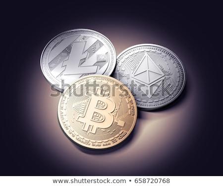 ストックフォト: Bitcoinの · 黒 · コイン · 向い · カメラ · シャープ