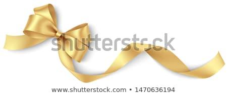piros · arany · ajándék · szatén · íj · szalagok - stock fotó © fresh_5265954