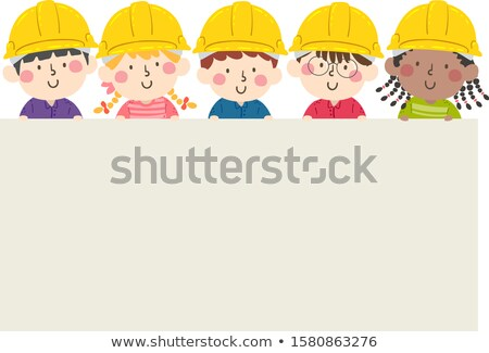 Gyerek fiú védősisak clipboard illusztráció visel Stock fotó © lenm