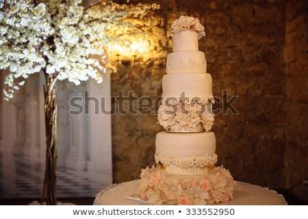 Esküvői torta asztal asztalterítő vendéglátás vektor krém Stock fotó © robuart