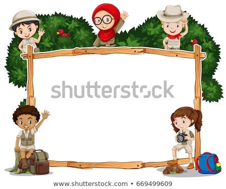 Menino menina safári branco ilustração crianças Foto stock © bluering