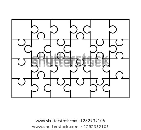 24 white puzzles pieces arranged in a rectangle shape. Jigsaw Puzzle template ready for print. Cutti Stock photo © evgeny89