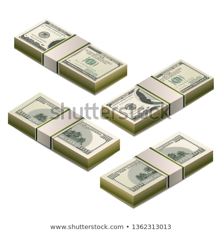 Stack of dummy one hundred US dollars banknote in isometric view on white Stock photo © evgeny89