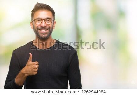 Menino óculos okay gesto imagem Foto stock © deandrobot