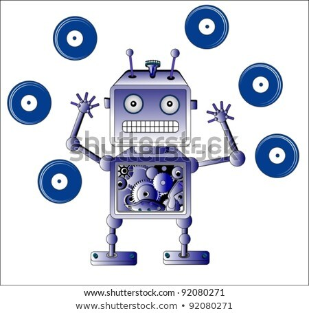 blue robot toy with vinyl records stock photo © elmiko
