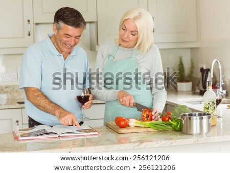 Olgun çift yemek kitabı kitap sevmek mutlu Stok fotoğraf © photography33