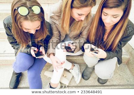 Portre üç gençler merdiven Bina okul Stok fotoğraf © photography33