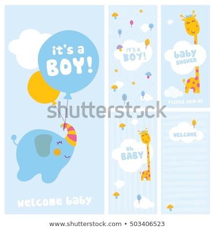 Foto stock: Novo · bebê · anúncio · cartão · girafa · aniversário