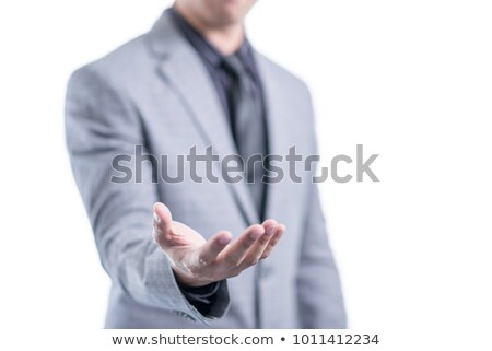 glimlachend · zakenman · uit · handen · witte - stockfoto © wavebreak_media