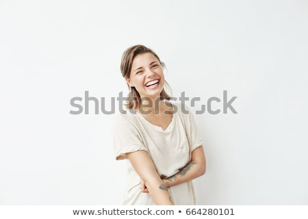 Stock photo: Portrait of attractive smiling girl over white