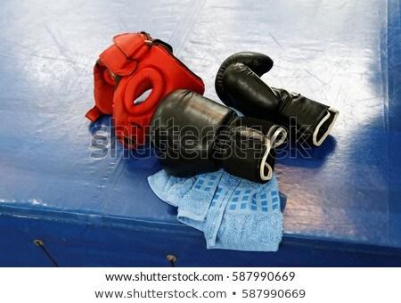 Pár piros boxkesztyűk felület fitnessz egészség Stock fotó © wavebreak_media