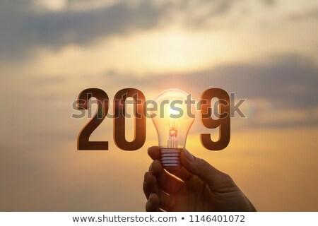 2019 new year sign with light bulb stock photo © mikhailmishchenko