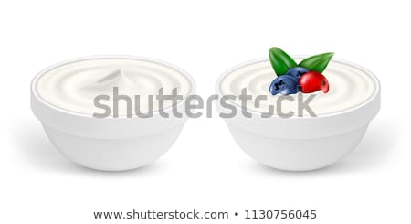 vector greek yogurt in a bowl with spoon Stock photo © freesoulproduction
