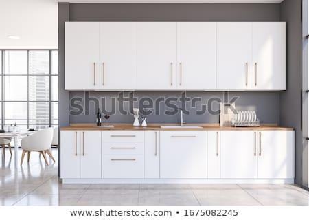 Cucina interni clean vuota fila set Foto d'archivio © albund