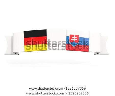 Banner twee vierkante vlaggen Duitsland Slowakije Stockfoto © MikhailMishchenko