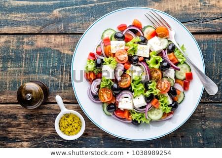 Stock fotó: Görög · saláta · tányér · uborka · paradicsom · bors