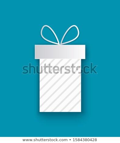Karácsony ajándék kivágás ikon izolált kék Stock fotó © robuart