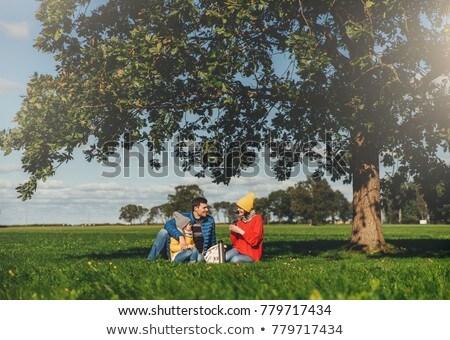 Gelukkig gezin najaar picknick zitten groen gras drinken Stockfoto © vkstudio