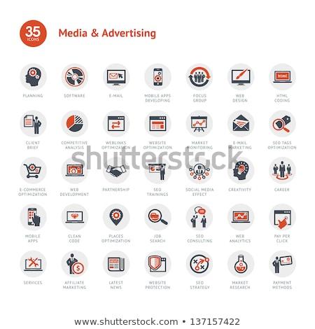 Ellenőrzés appok ikon gyűjtemény vektor ikonok háló Stock fotó © ayaxmr
