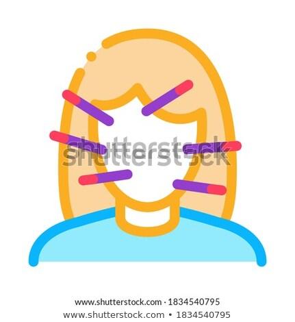 Vrouwelijke gezicht acupunctuur icon vector schets Stockfoto © pikepicture