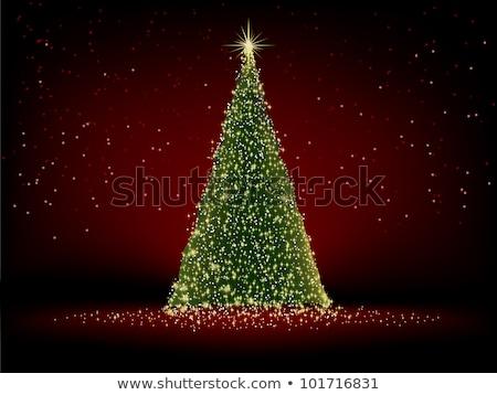 gyönyörű · tél · sablon · kártya · eps · fa - stock fotó © beholdereye