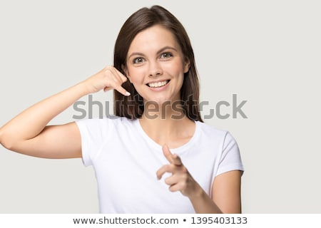 Businesswoman telling you to call Stock photo © photography33
