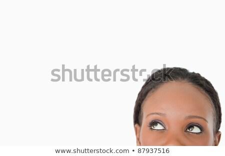 jonge · vrouw · naar · witte · achtergrond · teken - stockfoto © wavebreak_media