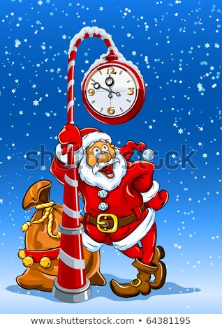 santa claus with sack of gifts under clock Stock photo © LoopAll