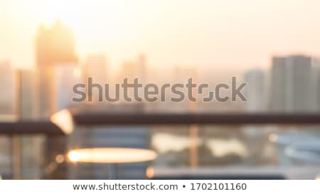 Earth with buildings. Blured landscape as backdrop Stock photo © cherezoff
