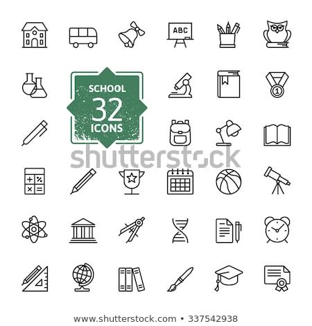 graduation cap with medal line icon stock photo © rastudio