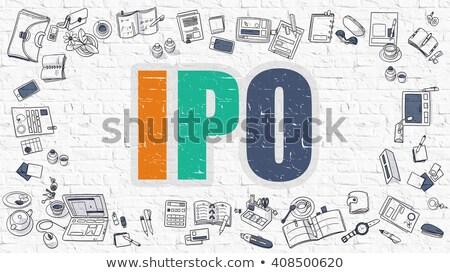 Multicolor IPO on White Brickwall. Doodle Style. Stock photo © tashatuvango